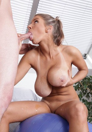 Saggy tit milf cums hard from masters control via cam 2